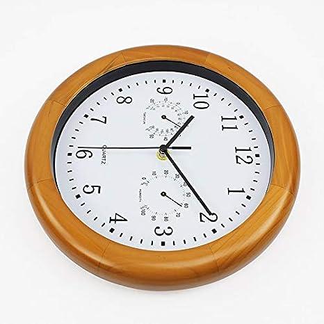 GGreenary Termómetro Reloj de Pared Madera Reloj de Silencio ...