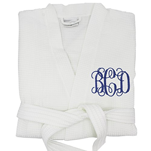 Personalized Waffle Bridesmaid Kimono Robe Gift - Wedding Bridal Party Robes - Women's Bathrobe - Custom Monogrammed for Free (LARGE, White)