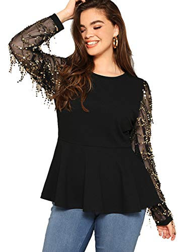 (Romwe Women's Plus Size Sequin Fringe Mesh Long Sleeve Ruffle Peplum Top Party Blouse Black 3XL)