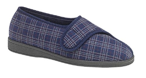 Sleepers JULIAN II Mens Extra Wide Velcro Checked Slippers Navy Navy lFzFm