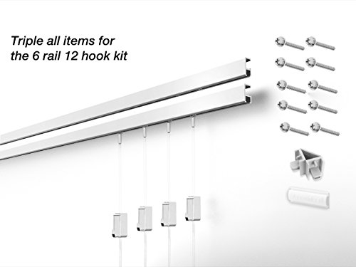 12 Hanging Components STAS Minirail Picture Hanging System- Complete Kit (12 hooks and cords 6 rails 59'', White) by Stas Picture Hanging Systems