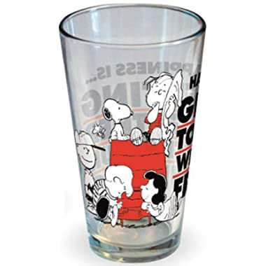 ICUP Peanuts Happiness is Friends Pint Glass, Clear
