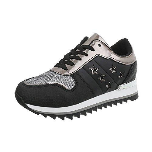 Scarpe G Sneakers Donna Sneaker da 127 Design Argento Zeppa Ital High Nero 5qpxwvgpR