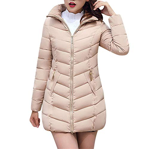 JESPER Fashion Winter Women Puffer Jacket Long Thick Warm Slim Coat Removable Hooded Khaki