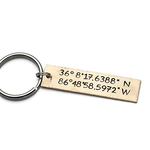 Coordinates Keychain, Personalized Keychain, GPS Longitude Latitude, Hand Stamped Key Chain, Custom Coordinates Keychain, Graduation Gift by Jessie Girl Jewelry