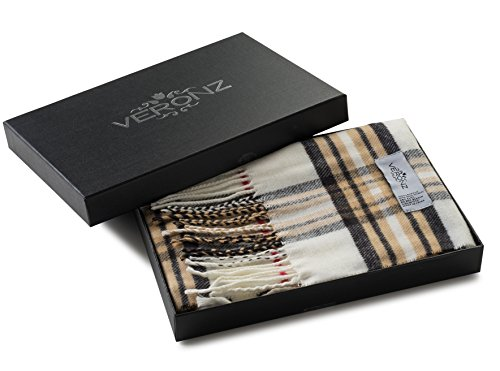 Veronz Super Soft Luxurious Classic Cashmere Feel Winter Scarf (Ivory Plaid)