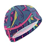 Smany Ethnic Illustration Colorful Doodle Kids Swim Caps,High Elasticity, No Deformation Use,UV Protection, Waterproof Comfy Swimming Bathing Cap for Short and Long Hair