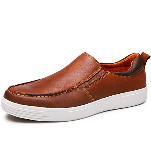 (Men's Genuine Leather Loafer Slip on Sneaker Casual Walking Shoes (11, Brown-26))