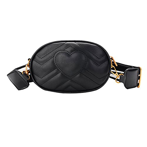 Van Caro Womens Leather Oval Crossbody Shoulder Bag Fanny Pack 2-Way Belt Bag, Black -
