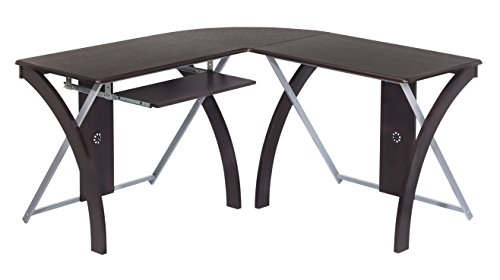 Office Star X-Text L-Shaped Computer Desk with Pullout Keyboard Tray, Espresso Finish Top with Silver Finish Accents ()