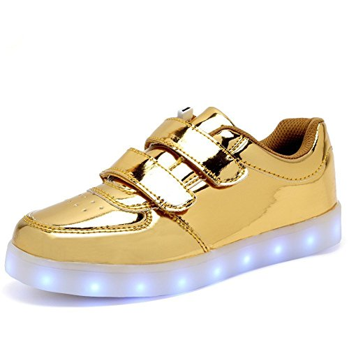 Light Up Trainers Kids Girls Boys Walking Shoes Low Top Sneakers ?Gold 2.5 M US Little Kid?