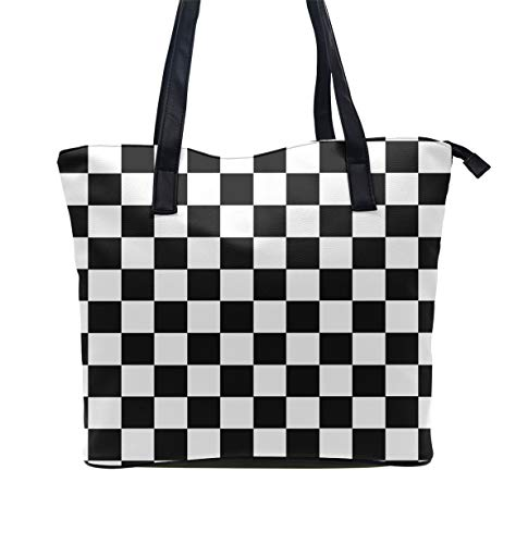 Women Tote Bag PU Leather Handbags Casual Ladies Shoulder Bags for Shopping, Checkerboard ()