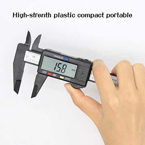 HIGO Digital Caliper, 6 Inch Plastic Electronic Vernier Caliper with Large LCD Screen, Auto-off Feature Inch/Millimeter Conversion