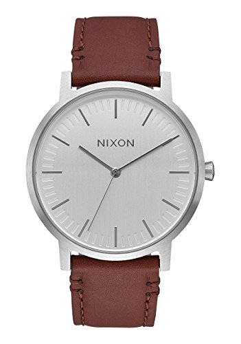 Nixon-Porter-Leather-Silver-Brown-Leather-Strap-Mens-Watch-A1058-1113