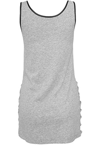 Urban Classics Ladies Leather Imitation Side Knotted Tank, Camiseta sin Mangas para Mujer gry/blk