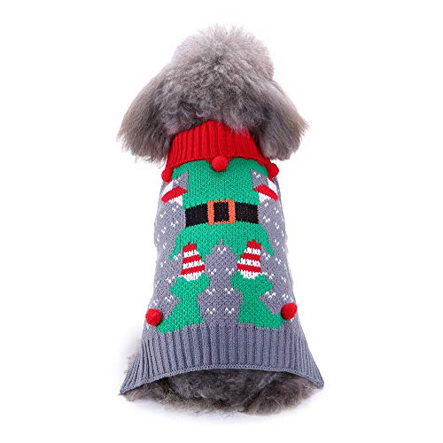 Futemo Christmas Pet Cartoon Sweater Xmas Winter Warm Jacket Supplies Clothes Outfits for Small Dog Cat Puppy Coats Apparels (L, Multicolor)