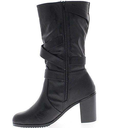 ChaussMoi Stivali tacco alto donna taglia grande doppiato nero cuoio 9cm