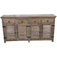 Meva Troy Buffet with 4-Shutter Door and 4-Drawer, Grey Wash