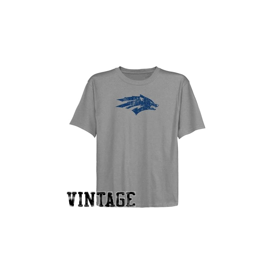 Nevada Wolf Pack Youth Ash Distressed Logo Vintage T shirt