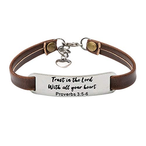 UNQJRY Christian Gifts for Women Inspirational Leather Bracelet for Girls Trust in The Lord with All Your - Bracelet Leather Heart