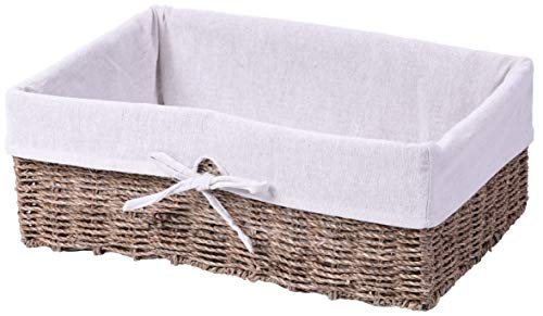 - Vintiquewise QI003418 Large Seagrass Shelf Storage Basket with White Lining