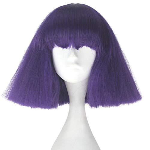 Lady night Girl Short Kinky Straight Taro Wig Synthetic Party Hair Colorful Cosplay Wigs,Purple -