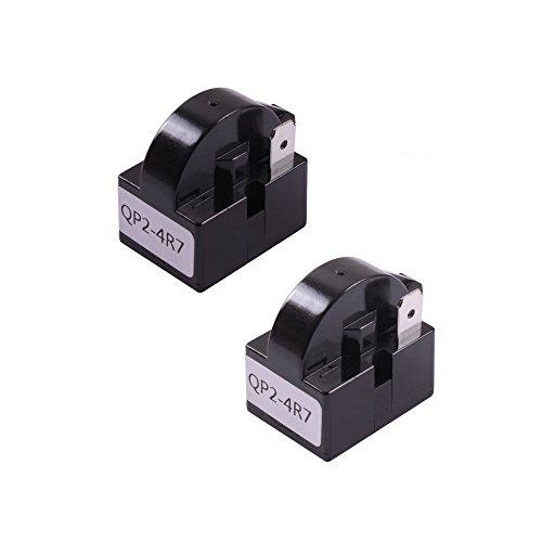 Teenitor 2 PCS QP2-4R7 4.7 Ohm 1 Pin Refrigerator PTC Starter Relay Black ()