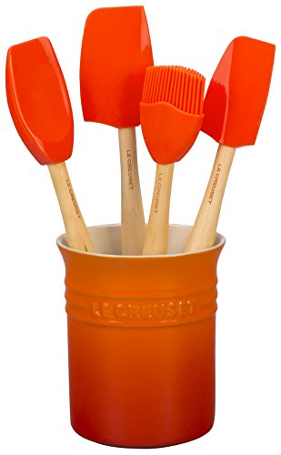 Le Creuset Silicone Craft Series Utensil Set with Stoneware Crock, 5 pc., Flame