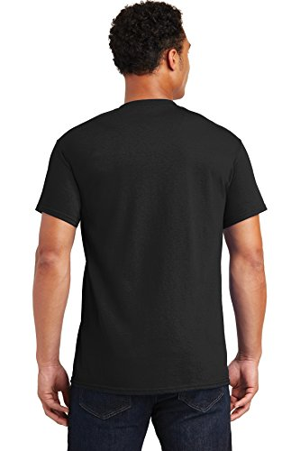 Gildan Adult Ultra Taped Neck Preshrunk Jersey T-Shirt, Black, L (Pack of 10)