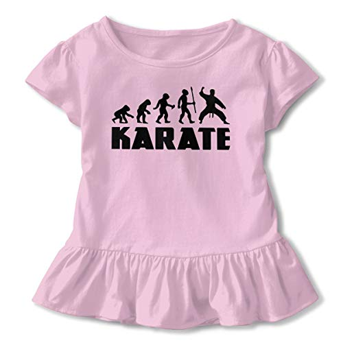 (SHIRT1-KIDS Evolution Karate Toddler/Infant Girls Short Sleeve T-Shirts Ruffles Shirt T-Shirt Pink)