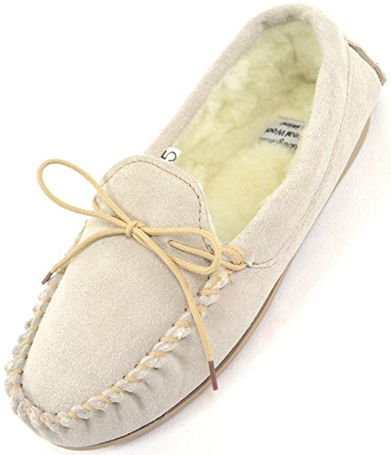 Ladies/Womens Genuine Suede Leather Moccasin/Slippers with Warm Wool Lining - Beige - US 9 (Ladies Suede Leather Genuine)