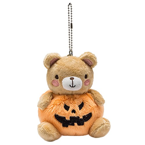 4' Plush Bear Keychain - SOCOMP Pumpkin Bear Frog Plush Keychain Key Ring Cute Stuffed Animal Handbag Pendent Party Favors Purse Charms Bear Doll Keychain 4''