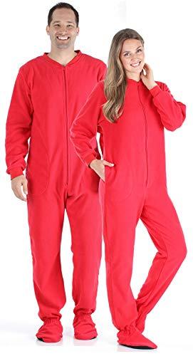 SleepytimePjs Adult Red Fleece Onesie Pjs Footed Pajama-Women (ST17-W-RED-XS)]()