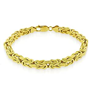 14k Yellow Gold 5.5mm Square Byzantine Fancy Bracelet Chain 8.5""