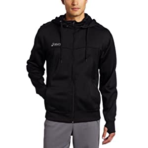 Asics Men's Poly Tech Zip Hoodie, Black, Large