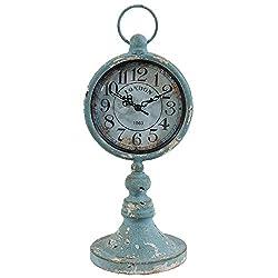 Benzara BM165455 Blue Antiqued Metal Pedestal Clock