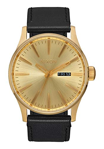 NIXON Sentry Leather A128 - All Gold/Black - 123M Water Resistant Men's Analog Classic Watch (42mm Watch Face, 23mm Leather Band)