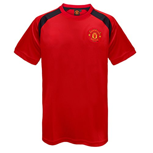 Manchester United FC Official Gift Mens Poly Training Kit T-Shirt Red Large