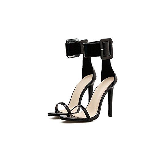 Summer Zapatos Punta Mujer tamaño Punta 2018 de 40 Europa y Mujer Sandalias de Sandalias América Hueca Fine de New Color Ladies de tamaño Abierta de Abierta Hebilla Heel Zapatos Black 40 Black Gran rwtqrRxa