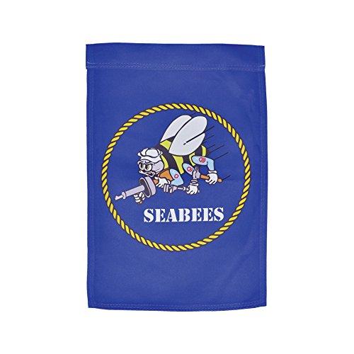 In the Breeze Navy Seabees Lustre Garden Flag - Navy Blue Kite
