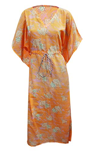 Peegli Women's Summer Kaftan Orange Vintage Style Oversized Dress Georgette Blend V Neck Caftan Vintage Style Floral Printed Full Length Maxi ()
