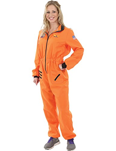 Ladies Orange Astronaut Spaceman Space NASA Halloween Costume Small ()