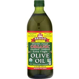 Bragg Organic Extra Virgin Olive Oil – Made with Greek Koroneiki Olives – Cold Pressed EVOO for Marinades & Vinaigrettes – USDA Certified, Non-GMO, Kosher 32 oz