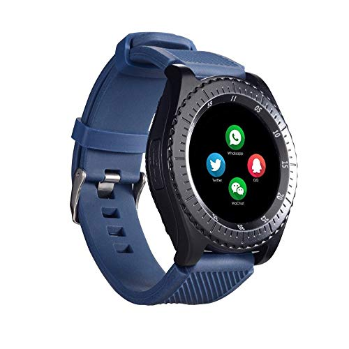 Cywulin Fitness Tracker Smartwatch Digital Multifunction with Camera TF/SIM Card Slot, Pedometer, Calorie, Step Counter Sport Bracelet for Android iOS Phones Kids Men Women Long Battery Life (Blue) (Sim-sport)