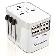 International Power Adapter Travel Plug – 4 USB Ports Universal Work for 150 Countries – 120 Volt Adapter – Adapter Type…