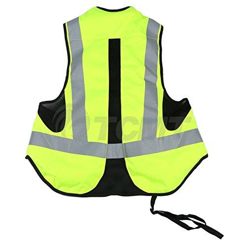 TCMT Airbag Motorcycle Airnest Air Bag Vest Hi Visibility w/ CO2 Cartridge (XXL, Black + Fluorescent yellow)