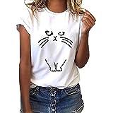 Fainosmny Womens Tops Loose Shirts Print Tunic Tees Fashion Sweatshirt Short-Sleeved T-Shirt O-Neck Blouse Casual Pullover White