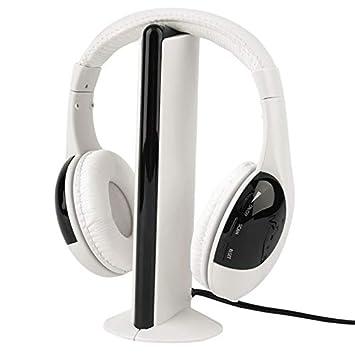 XuBa 5 En 1 Auricular Inalámbrico Musical Deportivo Simple de Moda RF Mic para Pc TV DVD CD Mp3 Mp4 Blanco: Amazon.es: Electrónica
