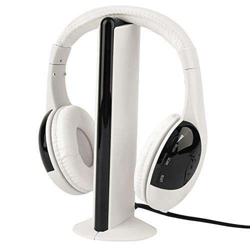 Leoie 5 in 1 ヘッドセット ワイヤレス ヘッドホン コードレス RF マイク PC TV DVD CD MP3 MP4用, 3B79CD9F6C962B55  ホワイト B07GZPXY39