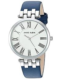 Anne Klein Women's AK/2619SVDB Silver-Tone and Dark Blue Leather Strap Watch